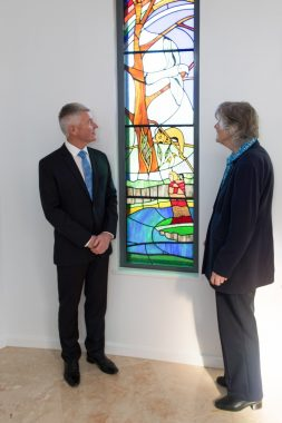 Mr Kennedy and Sr Therese Quinn discussing our Kulin window.